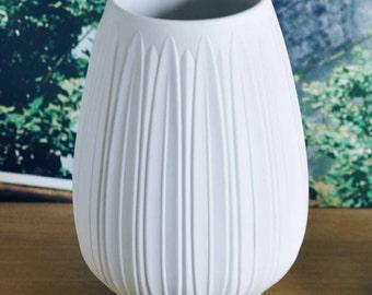 Perfect OP Art Vase Mid Century Modern by Heinrich Mid Century West German Matte White Bisque Porcelain Petals Blossom
