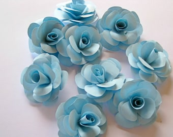 Set of 20 Blue Paper Roses, Blue Paper Flowers, Blue Stem Roses, Blue Paper Wedding Decor, Eco Wedding, Craft Project, Paper Flower