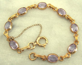 Vintage jewelry 12k gold filled faux amethyst amethyst glass link bracelet