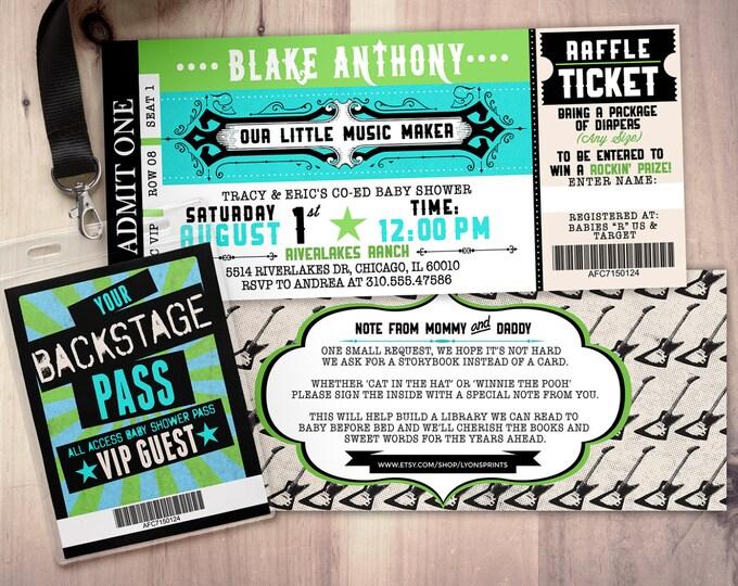ROCK STAR Concert Ticket Baby Shower Invitation Coed Baby Shower  Invitation  Rock Baby Shower