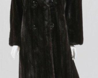 Luxury Genuine Dark Brown Mink Long Coat, New Condition, Size 14