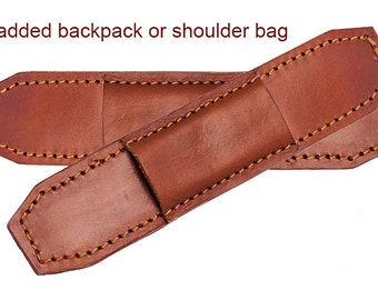 Protective padded leather straps bag or backpack.