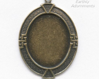 Brass pendant setting for 30x22-24mm cabochon. Solid back. Pkg. of 1. b9-0593-2(e)