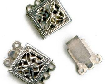 Vintage silver metal filigree 3 strand box clasp  8mm pkg of 2. b8-234(e)