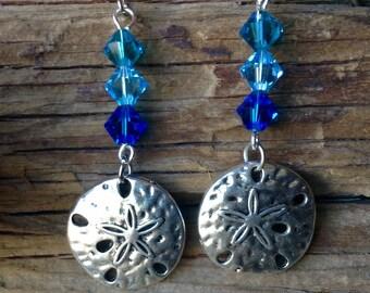 Silver Sandollar Charms with Blue Crystal Earrings