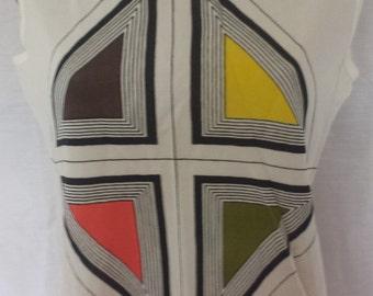 Vintage 1960's Mod Shift top sleeveless shirt geometric triangles  sz  S - M