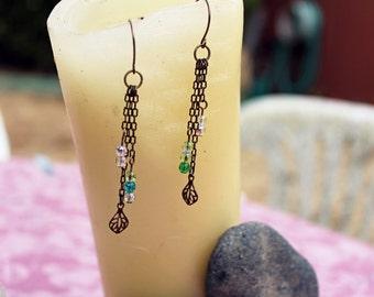 Natural Brass Leaf Charm With Czech Glass Druk Beads Drop Dangle Earrings
