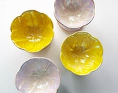 Set of 4 Sundae Bowls by Beswick. Stunning Lustre Yellow and Lilac Ice Cream Bowls. Retro Sundae Dishes Perfect For A Summer Tea Party!