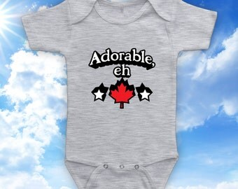 Adorable, Eh - kids t-shirt, baby onesie, baby bodysuit, canada day t-shirt, canadian tshirt, baby first canada day - CT-495