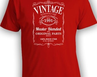 Vintage Whiskey Label Birthday Shirt Born 1991 - Celebrating 25th Birthday, Gifts for Him, Gifts for Grandpa, Gifts for Dad Bourbon CT-1080