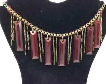 Dark Red Lucite Rod Necklace by Coro