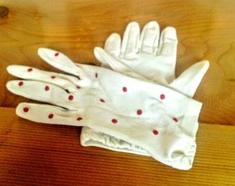 Vintage Red And White Polk-A-Dot Dress Gloves