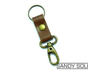 Brown Leather & Antique Bronze Swivel Clasp Keychain Key Ring Fob. UK Made Leather Key Ring