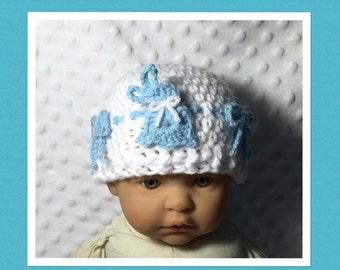 LittleBits Newborn Baby Crocheted Blue/White Easter Bunny Beanie - Australia