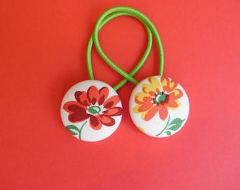 Flower - Fabric Button Hair Ties - Christmas Stocking Filler