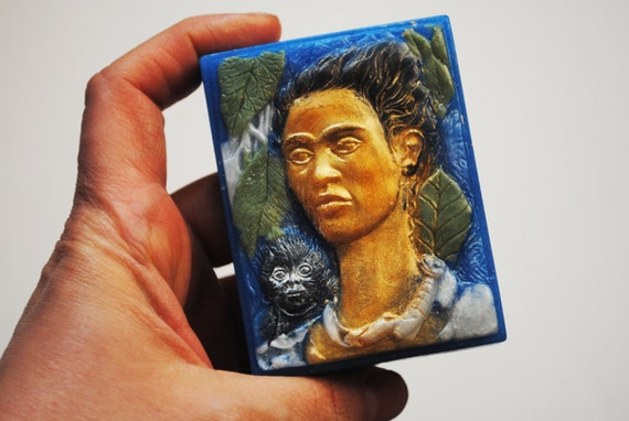 Handmade inspired Frida Kahlo autoportrait Soap -Christmas gift, stocking gift, Novelty, Parody