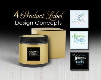 4 Candle Label Designs, Product Label Design Concepts, Sugar Scrub Label Design, Jar Label Design, Product Logo, Soap Label Design Concepts