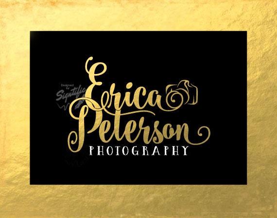 Gold Leaf Photography Logo, Custom Gold Foil Logo Design, Gold Camera Logo, Name Logo, Photographer Name Signature in Gold leaf Lettering