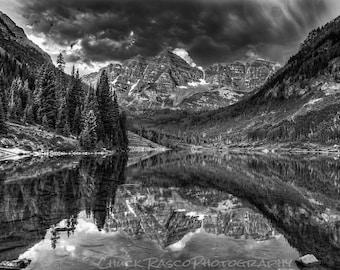 Photo Art - Mountain Photography - Maroon Bells - Black & White