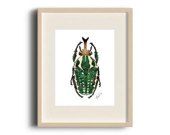 Green Beetle Watercolor Art Print - Beautiful Wall Art