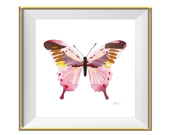 Pink Butterfly Watercolor Art Print - Beautiful Home Decor Piece