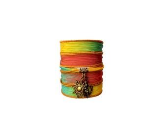 Sun and Sea silk ribbon bracelet