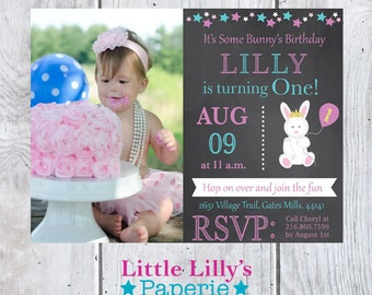 Printable Bunny Birthday Invitation, Some Bunny Is Turning One Invite, First Birthday Invite