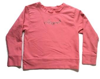 90s Pink Rhinestone Angel Crop Top