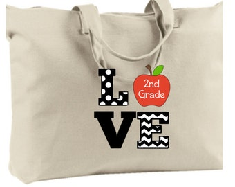 Personalized LOVE Kinder 1st 2nd 3rd 4th 5th 6th grade zippered Tote Bag with inside pocket