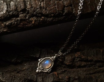 Aria - Antique Silver Moonstone Necklace - Silver Rainbow Moonstone Necklace - Antique Moonstone Pendant Necklace