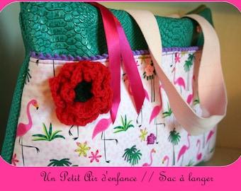 Changing Green & pink flamingos Pink bag