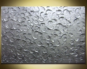 Large Metallic Silver Painting Wall Art Textured Painting Original MADE TO ORDER