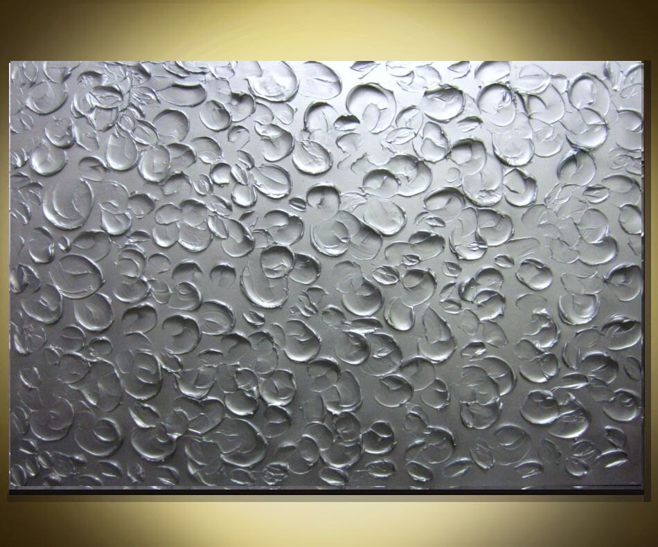 Large Metallic Silver Painting Wall Art Textured Painting