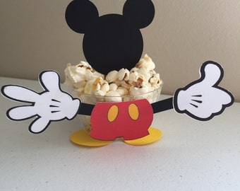 Set of 12 popcorn Mickey mouse cups, candy cups, Fruit cups+ 12 pcs Mickey mouse head topper.