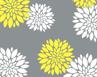 Pillow Sham, Flower Pillow, Pattern Bed Pillow, Pattern Pillowcase, Yellow Grey Sham, Floral Pillowcase, Standard Size Pillow