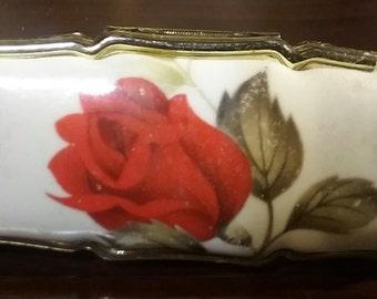 Vintage Lipstick Holder with Mirror..Red Rose on Porcelien..Gold Tone Metal