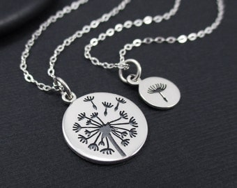 Mother Daugther Necklace Sterling Silver Dandelion Necklace, Mother's Gift, Set of 2 Necklaces