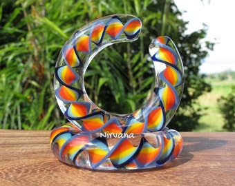 "1 Pair (2 Pieces) Super Fat Rainbow Encased Twist Hoop Gauges 10g 8g 6g 4g 2g 0g 00g 7/16"" 1/2"" 9/16"" 5/8""  3 mm 4 mm 5 mm 6 mm  - 16 mm"