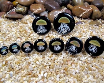 "Pyrex Glass Jellyfish Plugs Black Background 0g 00g 7/16"" 1/2"" 9/16"" 5/8"" 3/4"" 1""  8 mm 10 mm 12 mm 14 mm 16 mm 18 mm 20 mm 22 mm 25 mm"
