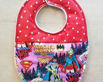Female Superhero Baby Bib
