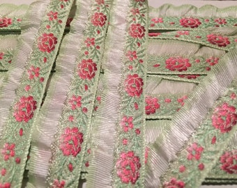 Vintage French Floral Jacquard Ribbon, Pink Floral with Green background and White Ruffled Edge