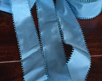 "Vintage picot taffeta French Blue - Swiss ribbon sold by the yard, 2 1/8"" Wide, an amazing color"