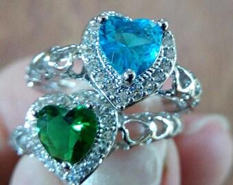 18K White Gold Topaz or Emerald Heart Ring
