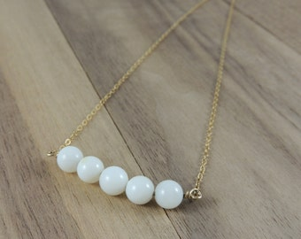White shell bead gold filled necklace