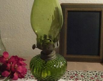 Miniature Green Kerosene Lamp