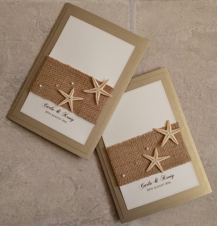 Etsy Beach Wedding Invitations: Starfish Beach Hessian Pocketfold Wedding Invitation