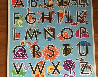 "Vintage Whitman happy helper ""Preschool Alphabet"" frame-tray puzzle from 1971."