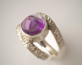 Purple Amethyst Ring, February Birthstone, Amethyst Gemstone Jewelry, Engagement Ring, Silver Ring, Gift For