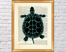 Turtle illustration Art Print, Dictionary Poster, Wall Decoration, Book Page Print