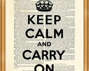 Keep Calm and Carry On, Art Print, Dictionary Poster, Wall Decoration, Book Page Print
